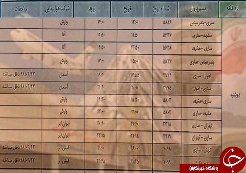 پرواز های دوشنبه 6 آبان ماه فرودگاه های مازندران